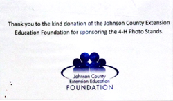 Sign thank Johnson County Extension Foundation