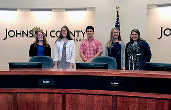 4-H youth at Johnson County Board of County Commissioners meeting