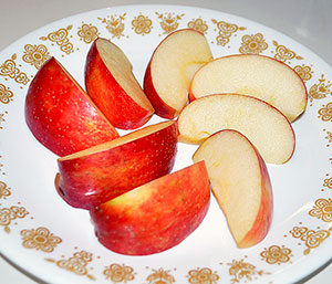 Apple slices on a plate
