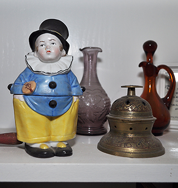 Porcelain figurine and brass incense burner